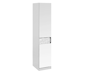 HomeMe Шкаф Капри с 1-й дверью с зеркалом левый (белый глянец)