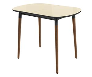 HomeMe Стол раздвижной Дотс - 94/126 (кремовый/темное дерево)