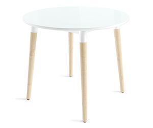 HomeMe Стол круглый Дотс - 90/90 (белый/светлое дерево)