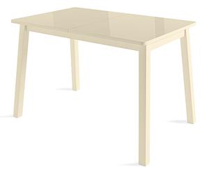 HomeMe Стол раздвижной со стеклом Бельт - 110/140 (кремовый/кремовый)