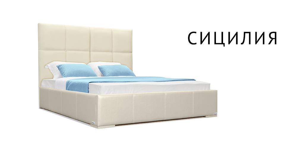 Мягкая кровать 200х160 Сицилия с подъемным механизмом (Молочный)