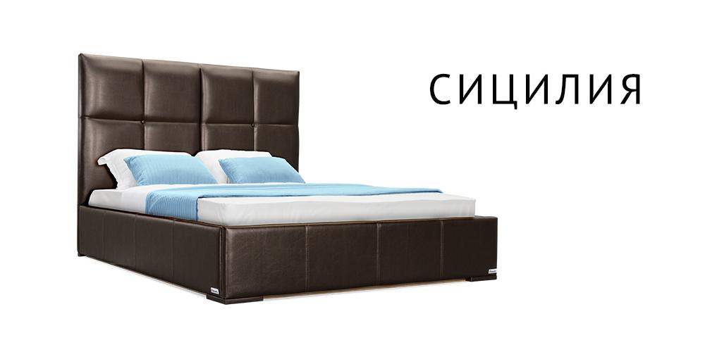 Мягкая кровать 200х160 Сицилия без подъемного механизма (Шоколад)